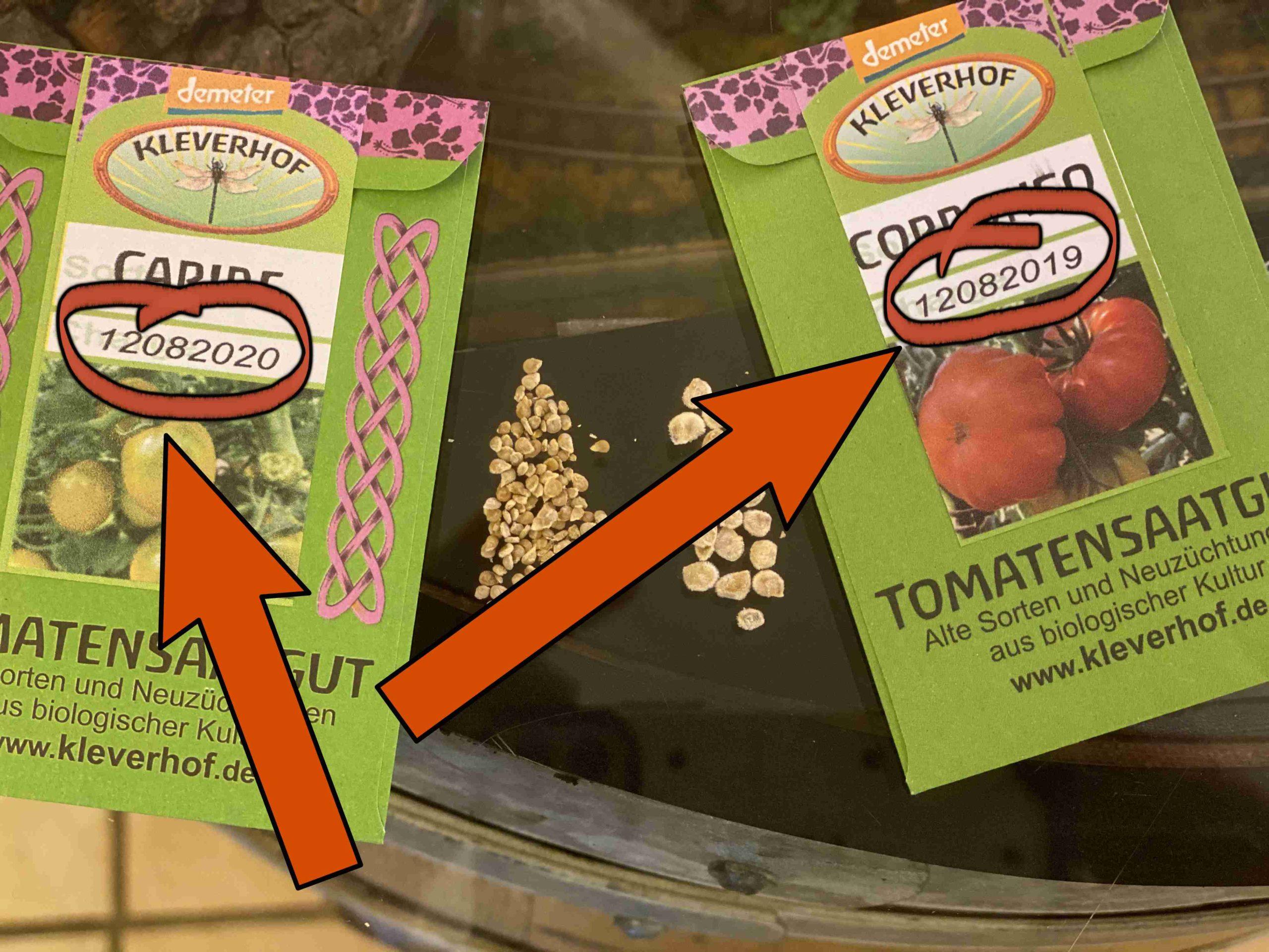 Unser Tomaten-Saatgut für den Verkauf ist nicht älter als 4 Jahre. Die Chargen-Nummer verrät Dir, wann wir mit der Entnahme begonnen haben. Die Sorte Caribe ist aus dem Jahr 2020, Corrongo aus dem Jahr 2019.